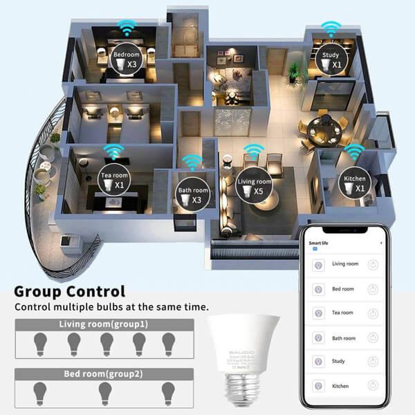 group control wifi light bulb